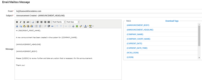 Announcement Created Notification Example Email Config